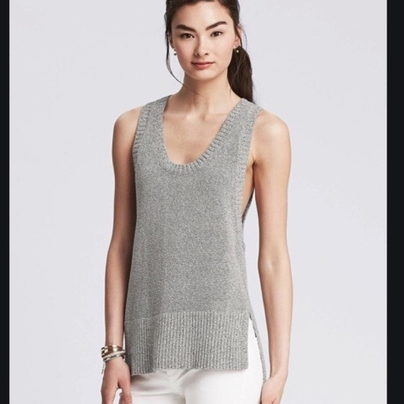 Banana Republic High Low Sweater Tank in Grey